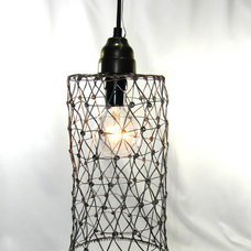Hanging Pendant Light Lamp Custom Pewter Wire Mesh by JudisLamps