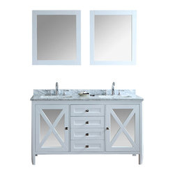 "Ariel - Summit 60"" Double-Sink Bathroom Vanity Set - This vanity from our Summit collection blends modern and traditional elements into one design.  From its tapered legs to mirrored door panels and Alpine white finish, this vanity is sure to provide a dash of style to any bathroom. Two doors with soft-closing hinges.  4 soft-closing drawers.  White carrera marble countertop (1"" edge) w/matching backsplash design.  All marble tops are finished by hand, pre-drilled for all 8"" widespread faucets, and double-sealed for scratch-resistance and long-term durability 2 cUPC-certified rectangular undermount sinks Color: Alpine White 2 Matching wood-framed 27.6""W x 32.3""H mirrors included Vanity Dimensions: 60""L x 22""W x 34.6""H"