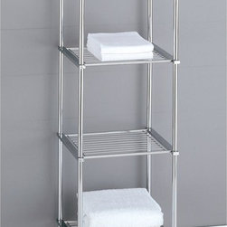 Organize It All Metro 4-Tier Shelf (16984) - Features: Chrome finish, Great for small spaces, Stylish, Modern look, Shelves for extra storage