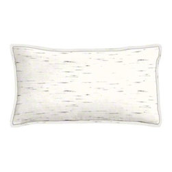 "Cushion Source - Sunbrella Frequency Parchment Outdoor Lumbar Pillow - The 20"" x 12"" Sunbrella Frequency Parchment Outdoor Lumbar Pillow features a birch bark appearance with black flecks on a white background."