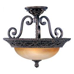 Joshua Marshal - Three Light Oil Rubbed Bronze Vintage Amber Glass Bowl Semi-Flush Moun - Three Light Oil Rubbed Bronze Vintage Amber Glass Bowl Semi-Flush Moun