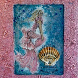 Submerged (Original) by Therese Tucker - Part of my Oceania collection of channeled works.  This piece comes with a private message intended for it's owner.  Created on a wrapped wood panel, and framed with plaster impressed with shells.  This piece is 3 dimensional as the shell attached to the front is real.  The sides are finished with bits of opalescent shell.  Professionally wired and ready to hang.