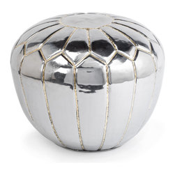 Kathy Kuo Home - Magnani Hollywood Regency Polished Steel Pouf Ottoman - Modern, metal and marvelous, this designer take on the standard ottoman is more like a contemporary sculpture. It's perfect for your small space loft or home where every piece has a function.