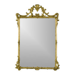 Hickory Manor House - English Mirror in Gold Leaf Finish - 100% Made In USA. Made of pecan shell resin. Hand Applied Finish. Hand Cast. 39 in. L x 26 in. W x 4 in. H  (19 lbs)For over 20 years, Hickory Manor House has produced unique classical mirrors. Our designs are inspired by elements of fine antiques from around the world. We expertly craft each item with quality materials and historical perspective, maintaining important character features that give each piece an authentic original appearance. We are proud that all of our products are produced in the USA. Made of pecan shell resin, allowing us to devote skillful attention to the design and to provide a wide array of beautiful hand-applied finishes.
