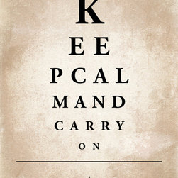 Keep Calm Collection - Keep Calm and Carry On, 11 x 14 archival print (eye chart) - This item is an Art Print which means it is a higher-quality art reproduction than a typical poster. Art prints are usually printed on thicker paper, resulting in a high quality finish. This print is produced on a 270 gsm fine art paper stock.