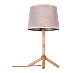 ParrotUncle - Contemporary Table Beside Lamps with Tripod Wooden Stand and Linen Shade - This table lamp doesn't rest on its fine design laurels — it stands alone. With tripod wood feet and a slender banded column, it's a lovely way to bring light to your favorite contemporary setting. Linen shade is included, as opposite, you need to get a max 40W bulb to light it.
