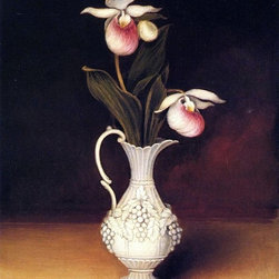 """Anna Claypoole Peale Lady Slippers in a Parian Vase   Print - 18"""" x 24"""" Anna Claypoole Peale Lady Slippers in a Parian Vase premium archival print reproduced to meet museum quality standards. Our museum quality archival prints are produced using high-precision print technology for a more accurate reproduction printed on high quality, heavyweight matte presentation paper with fade-resistant, archival inks. Our progressive business model allows us to offer works of art to you at the best wholesale pricing, significantly less than art gallery prices, affordable to all. This line of artwork is produced with extra white border space (if you choose to have it framed, for your framer to work with to frame properly or utilize a larger mat and/or frame).  We present a comprehensive collection of exceptional art reproductions byAnna Claypoole Peale."""