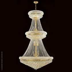 Worldwide Lighting Empire Chandelier W83038G36 - Worldwide Lighting Empire Collection 32 light Gold Finish and Clear Crystal Chandelier Two 2 Tier