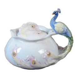 US - 4.45 Inch Glazed Porcelain Blue Green Peacock Sugar Bowl with Lid - This gorgeous 4.45 Inch Glazed Porcelain Blue Green Peacock Sugar Bowl with Lid  has the finest details and highest quality you will find anywhere! 4.45 Inch Glazed Porcelain Blue Green Peacock Sugar Bowl with Lid  is truly remarkable.