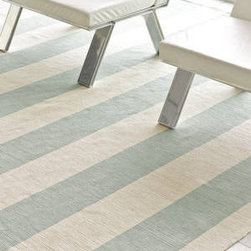 Yacht Stripe Ocean Woven Cotton by Dash & Albert Rug Company - Subtle stripes in ocean blue and cream make this a soothing palette that is perfect for a modern nursery.