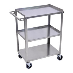 Luxor Furniture - Luxor Stainless Steel Cart - Type 201 stainless steel. 16 gauge legs and 20 gauge shelves. 300 pound weight capacity (evenly distributed). Non-marring 4 in.  casters, two with locking brake. 1 in.  retaining lip around sides and back of top and middle shelf. Shelf clearance 13 in.  (top and middle), 12 in.  (middle and bottom). Equipped with rubber bumpers on legs opposite handle. Packaged knock-down for economical shipping. Assembly Required. Easy to assemble with tools included. Overall dimensions: 28¼ in. W x 16 in. D x 34¼ in. H