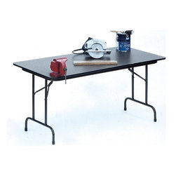Correll Inc - High Pressure Folding Table in Black Granite - Finish: 36 in. x 72 in./Black GraniteFor heavy duty home, office, school, church, food service and commercial use. 0.75 in. high density particle board core with backer sheet. 1 in. 18 gauge steel pedestal legs. 1.625 in. one piece steel Apron. Mar-proof plastic foot caps and edge molding. Automatic lock-open mechanism. Pictured in Black Granite. 18 in. W x 48 in. L. 18 in. W x 60 in. L. 18 in. W x 72 in. L. 18 in. W x 96 in. L. 24 in. W x 48 in. L. 24 in. W x 60 in. L. 24 in. W x 72 in. L. 24 in. W x 96 in. L. 30 in. W x 48 in. L. 30 in. W x 60 in. L. 30 in. W x 72 in. L. 30 in. W x 96 in. L. 36 in. W x 72 in. L. 36 in. W x 96 in. L