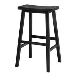 "Winsome Wood - Winsome Wood Saddle Seat 29"" Black Stool X-98002 - Contemporary Saddle Seat 29"" wood counter height stools in natural wood finish. Solid wood construction of natural hardwood.  Ships ready to assemble with all hardware and tools included.  This new style seat is comfortable and sleek."