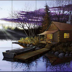 The Tile Mural Store (USA) - Tile Mural - Hunter'S Cabin  - Kitchen Backsplash Ideas - This beautiful artwork by Anthony Padgett has been digitally reproduced for tiles and depicts a cozy cabin at the lake.  This woodland tile mural would be perfect as part of your kitchen backsplash tile project or your tub and shower surround bathroom tile project. Wood land images on tiles add a unique element to your tiling project and are a great kitchen backsplash idea. Use a woodland scene tile mural for a wall tile project in any room in your home where you want to add interesting wall tile.