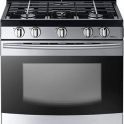 """Samsung - NX58F5300SS 30"""" Freestanding Gas Range With 5.8 Cu. Ft. Capacity  5 Burners  52K - Item NX58F5300SS is a Freestanding Gas Range with a 58 cu ft extra-large oven allows you to cook multiple dishes at once Easily accommodate a big roast multiple casserole dishes or several racks of cookies Two oven racks allow you to prepare enough f..."""