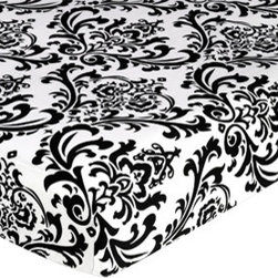 Sweet Jojo Designs - Isabella Hot Pink, Black and White Crib & Toddler Sheet - Damask Print by Sweet - The Isabella Hot Pink, Black and White Crib & Toddler Sheet - Damask Print by Sweet Jojo Designs, along with the  bedding accessories.