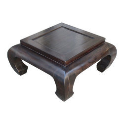 Golden Lotus - Square Chinese Curve Legs Solid Elm Wood Flower Stand Coffee Table - Look at this Chinese square table which is made of solid elm wood.  The top has unusual square design can be used as flower pot stand.  The four legs have Chinese Ming style curve design.  It could be used as small coffee table.