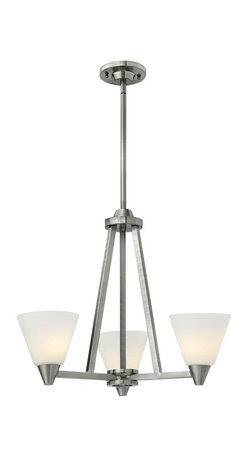 Hinkley Lighting - Hinkley Lighting 3663BN Dillon Transitional Chandelier - Dillons contemporary  stem hung design features a floating cast double ring intersection as the centerpiece. The absence of a center tube contributes an airy grace to its robust tube construction.