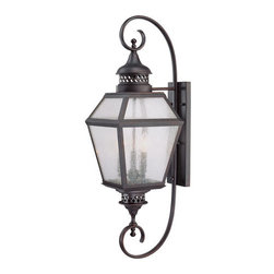 """Savoy House - Savoy House 5-774 11"""" Steel 3 Light Outdoor Wall Sconce with Pale Cream Seeded G - Savoy House 5-774 Chiminea 11"""" Steel 3 Light Outdoor Wall Sconce with Pale Cream Seeded GlassA New Orleans inspired outdoor style that is destined to become a bestseller, crafted to mimic the appearance of an antique gas lantern. The English Bronze finish and pale cream seeded glass add to the family�s tremendous valueFeatures:"""