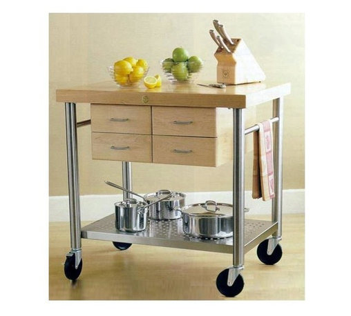 John Boos - Kitchen Cart - Cucina Veneto - Then pick up this versatile kitchen cart! The four drawers offer excellent storage potential, and the maple top and stainless steel shelf are both ample surfaces for work or storage. A contemporary design is exhibited in this simple, yet stylish, kitchen accessory. Constructed of commercial grade stainless steel, a maple surface as well as maple dovetailed drawers, are an attractive design element. Also features towel bars on two sides for extra convenience. * 2.25 in. thick edge grain hard maple top. Stainless steel legs and shelf (food service grade). 4 dovetailed maple drawers. 5 in. locking casters (commercial grade). Varnique finish. 35 in. H x 26 in. D x 36 in. W