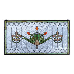 """Meyda - 36""""W X 19""""H Tulip & Fleurs Stained Glass Window - Spring green leaves and borders, lively coral tulipsand plum beige fleur-de-lis, accent the rippling textured clear glass of this elegant victorian inspired stained glass window. The window is handcraftedutilizing the copperfoil construction process and 192pieces of stained art glass encased in a solid brassframe. This lovely window is a creation to be forevertreasured. Mounting bracket and chain included."""