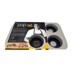 "Curtis Stone - 6-Cup Curtis Stone Pop-Out Muffin Tin - Muffin lovers of the world, rejoice! This innovative pop-out baking tin, a combo of durable cold-rolled steel and flexible silicone, is designed to prevent warping, ensure even browning and you can finally say ""see ya!"" to pesky sticking. Simply invert, push and present muffin perfection."
