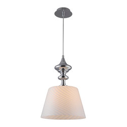 """IFN Modern - Marcel Glass Lighting Pendant - This home decor lighting lamp has a 11.81"""" wide conical glass shade with diagonal stripes texture. The shade is attached to the string by an artistic metal lamp holder with chrome finish for a decorative look. It requires a 60W incandescent bulb (sold separately).â— Metal & Glassâ— White Finishâ— Incandescent 60 Watt Bulb (Not Included)â— 4lbsâ— 110 Voltsâ— 50"""" Cordâ— Shade Diameter - 12"""""""
