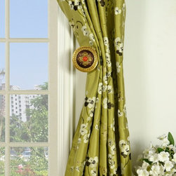 Green Embroidered Four-leaf Clovers Triple Pinch Pleat Dupioni Silk Curtains - The uniqueness of this design is that the four-leaf clovers which are extremely hard to find come the the panels in light-color background. The crisp design offers a light-hearted mood and add more life to your room.