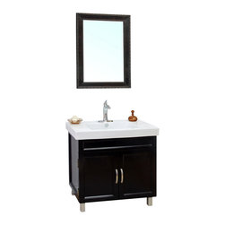 Bellaterra Home - 31.5 Inch Single Sink Vanity-Wood-Black - Brighten up your decor with this black finished vanity featuring solid wood construction, clean transitional design. Double doors opening to storage space with one interior shelf. Soft closing hinges and brush nickel hardware completes this warm transitional look. Dimension: 31.5 W x 18.9 D x 34.3 H