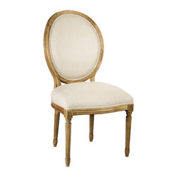 Kathy Kuo Home - Pair Madeleine French Country Natural Linen Oval Back Dining Chair - Fusing classic European design with simple rustic charm. A natural oak finish adds an antique touch to this Louis XVI style Medallion side chair. Upholstered in natural linen, this traditional oval back chair lends elegance to a dining room.