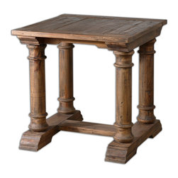 Uttermost - Saturia Wooden End Table - Built of 100% reclaimed fir, the hand-turned columns and carved details showcase the natural beauty and timeworn character of salvaged wood. True to the unique history in each board, each piece will have its own slightly different shading, distress marks and graining.