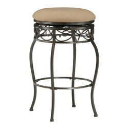 Hillsdale Furniture - Hillsdale Lincoln Backless Swivel 30 Inch Barstool - The Lincoln stool features elegant scroll work. Stools have a durable beige fabric seats. Finished in a beautiful black gold finish. Lovely additions to any home.