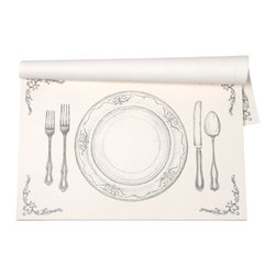 """Hester & Cook Design Group - Perfect Setting Paper Placemat - Printed on recycled paper with soy-based inks, these eco-friendly placemats are a beautiful yet practical addition to any tabletop. Features our classic """"Perfect Setting"""" design on our signature paper. This is the original placemat pad that started it all!"""