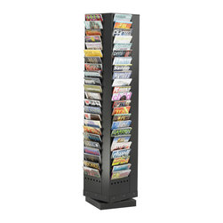 Safco - Safco 92-Pocket Steel Rotary Magazine Rack in Black - Safco - Magazine Racks - 4325BL - Put a spin on literature! Increase your storage and advance your display with the Steel Rotary Brochure Rack. Ideal for reception areas and waiting rooms; it's also great for school resources and workbooks.