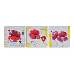 Floral notes Hand Painted 3 Piece Canvas Set - Definitely not your grandmother's florals! This hand painted acrylic on canvas triptych brings fresh, colorful excitement to your decor. Hang it to add real wow to your wall.
