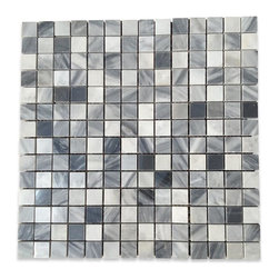 "GlassTileStore - Bardiglio Squares Blend Marble Tiles - Bardiglio Squares Blend Marble Tiles             This light and dark bardiglio stone gives a timeless look to any kitchen, bathroom or any decorated room. The mesh backing not only simplifies installation, it also allows the tiles to be separated which adds to their design flexibility.         Chip Size: 3/4"" x 3/4""   Color: Light and Dark Bardiglio   Material: Marble   Finish: Polish   Sold by the Sheet - each sheet measures 12"" x 12"" (1 sq. ft.)   Thickness: 8 mm   Please note each lot will vary from the next. Natural stones are products of nature therefore variations in color, pattern texture and veining will occur.            - Glass Tile -"