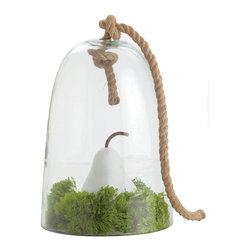 Kathy Kuo Home - Judd Coastal Beach Small Glass Nautical Cloche Twisted Rope - A world unto itself, this cloche or bell shaped glass terrarium with jute rope can contain plants or other botanical delights.  The choice is yours!