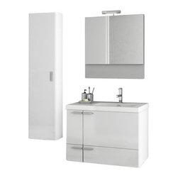 ACF - 31 Inch Glossy White Bathroom Vanity Set - Set Includes: Vanity Cabinet (2 Doors,1 Drawer).