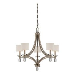 Savoy House - Filament 5-Light Chandelier - Raymond Waites filament has a luxurious glamour and fresh appeal ! Stacked k9 crystals add shine and sparkle that is reflected by a rich silver dust finish. This elegant group is today's lighting classic.