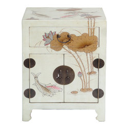 Golden Lotus - Off White Leather Oriental Koi Fish Nigthstands End Table - This is an end table that is made of compressed wood and a layer of artificial leather on the surface. There is an oriental lotus pond and Koi fishes pattern around.