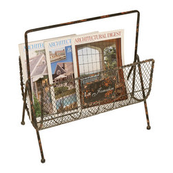 Welcome Home Accents - Distressed Wire Magazine Rack - Distressed copper metal magazine rack with handle for easy positioning. Mesh wire front to see what is stored inside.  Dust with a dry cloth. Made in China.