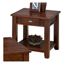 Jofran - Jofran Urban Lodge Square End Table with Drawer and Shelf in Antique Brown - Antique finish and irregular surface. Solid acacia.