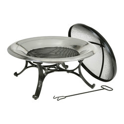 Kay Home Products - Round Stainless Steel Fire Bowl - Outdoor Stainless Steel Fire Pit: Kay Home Products Round Stainless Steel Fire Bowl gives you a modern design that's perfect for entertaining. Made from stainless steel, this versatile fire bowl can burn wood, charcoal, or artificial logs. The fire pit has a mesh spark screen on top, protecting your guests and family from strays embers or sparks. A sturdy steel stand with a powder coated finish holds it in place, keeping it secure while you enjoy your fire. Add this fire pit to your backyard for a great way to entertain throughout the patio season.