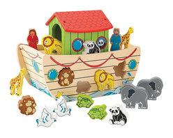 """KidKraft - Kidkraft Kids Colorful Educational Development Toy Noah's Ark Shape Sorter - Our Noah's Ark Shape Sorter lets kids play with adorable animals and work on their shape recognition skills at the same time. It's so much fun watching a young kid sit down with this shape sorter and try to fit the pieces into the right spaces. Age Range: 1 Plus. Dimension: 6.25""""x 10.51""""x 8.28"""""""