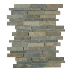 "Glass Tile Oasis - Gray-Sold by the Box Random Bricks Grey Ardesia Linea Grande Series Polished Sla - Sheet size:  12"" x 15 1/2"".        Tiles per sheet:  54        Tile thickness:  1/4""        Grout Joints:  1/8""        Sheet Mount:  Mesh Backed    Sold by the box - 5 sheets per box    -  Visually textural  yet silky smooth to the touch  Lineal Slate offers some of the smoothest  warmest surfaces in the world of architectural & design stone-based products. In eight earthen colors  rustic to contemporary  it presents a layered composition of a finish as old as time."