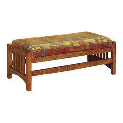 Chelsea Home Furniture - Chelsea Home Strasburg Footstool Ottoman - Esquire Standard - The Strasburg living room set makes a quality addition to any home with country decor. Handcrafted in solid White Quarter Sawn Oak with Michael's Cherry finish, this cubic slat sofa, loveseat, chair and ottoman set will last for years in your living room. Customize your furniture and relax in the comfort of plush upholstered zippered cushions available in standard or premium fabrics and a quality leather option. Chelsea Home Furniture proudly offers handcrafted American made heirloom quality furniture, custom made for you. What makes heirloom quality furniture? It's knowing how to turn a house into a home. It's clean lines, ingenuity and impeccable construction derived from solid woods, not veneers or printed finishes over composites or wood products _ the best nature has to offer. It's creating memories. It's ensuring the furniture you buy today will still be the same 100 years from now! Every piece of furniture in our collection is built by expert furniture artisans with a standard of superiority that is unmatched by mass-produced composite materials imported from Asia or produced domestically. This rare standard is evident through our use of the finest materials available, such as locally grown hardwoods of many varieties, and pine, which make our products durable and long lasting. Many pieces are signed by the craftsman that produces them, as these artisans are proud of the work they do! These American made pieces are built with mastery, using mortise-and-tenon joints that have been used by woodworkers for thousands of years. In addition, our craftsmen use tongue-in-groove construction, and screws instead of nails during assembly and dovetailing _both painstaking techniques that are hard to come by in today's marketplace. And with a wide array of stains available, you can create an original piece of furniture that not only matches your living space, but your personality. So ad