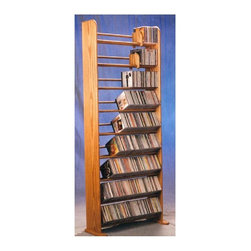 Wood Shed - 9 Row Dowel CD Rack (Unfinished) - Finish: UnfinishedCapacity: 504 CD's. Made from solid oak. Honey oak finish. 24.25 in. W x 10 in. D x 62 in. H