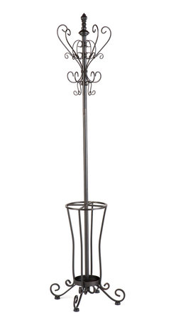 SEI - Metal Soll Hall Tree - Rustic and graceful, this scrolled metal coat rack is as beautiful as it is useful. The decorative scrolls around the top double as coat and hat holders, while the lower rack is divided into four sections to organize umbrellas and other items. Every home needs a coat rack and this selection is sure to suit your needs.
