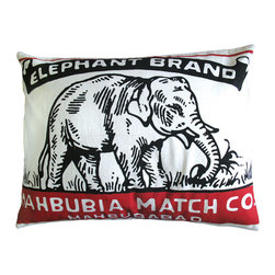 KOKO - Elephant Brand Print Pillow Sham, Red and Black - Talk about a great graphic impact! You'll love the bold illustration and simple color palette of this elephant pillow. Use it on a bed or to enliven a living area.