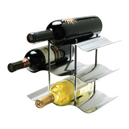 Oggi - Stainless Steel 3-Tier Wine Rack - Modern and compact, the 3-Tier Wine Rack can hold up to 9 of your favorite wine bottles. Crafted with stainless steel, the elegant scalloped tiers create a minimalist yet sophisticated aesthetic without compromising functionality. Great gift for the wine enthusiast!